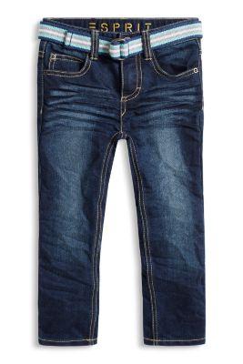 Dark-Denim-Jeans mit Gürtel