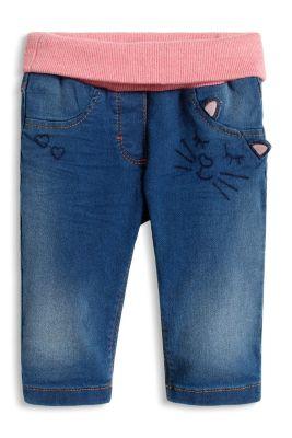 Jeans mit Rippbund und Katzengesicht