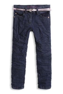 Stretch-Denim Jeans mit Metallic-Gürtel