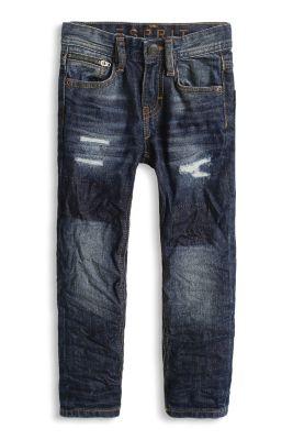 Non-Stretch Jeans, unterfütterte Löcher