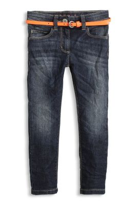 Stretch Jeans mit Lackgürtel