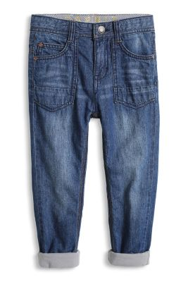 Non-Stretch Jeans mit Jersey-Futter
