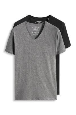 Esprit / 2 basic V-neck t-shirts, cotton jersey