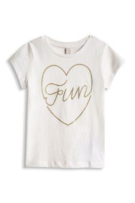 Esprit / T-Shirt mit Glitzer-Print, 100% Baumwolle