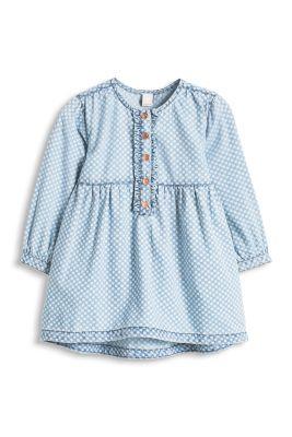 Esprit / Jeanskleid mit Tupfen, 100% Baumwolle