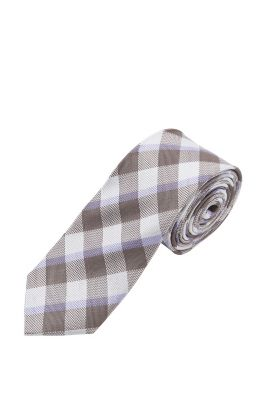Esprit / Tie with big check pattern, 100% silk