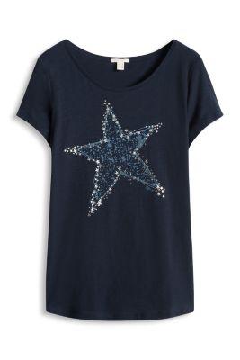 Esprit / Leichtes Glanz-Print-Shirt, Baumwoll-Mix