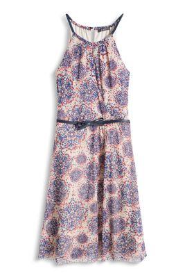 Esprit / Luftiges Mesh-Kleid mit Blüten und Gürtel