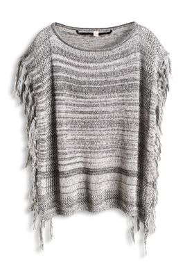 Esprit / Cotton poncho with fringing