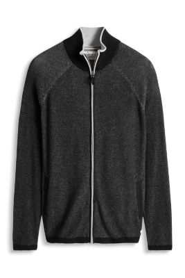 Esprit / Fine-knit zip cardigan, 100% cotton