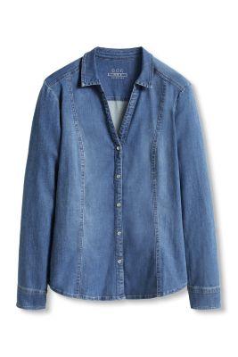 Esprit / Taillierte Bluse aus Stretch-Denim