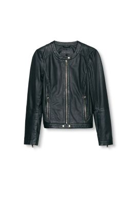 Esprit / Texture mix leather jacket with zips