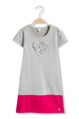Esprit / Knitted cotton dress with sequin heart
